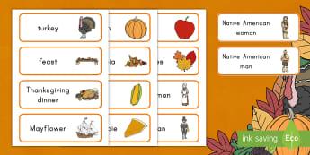 Thanksgiving Word Cards - thanksgiving day, turkey, mayflower, pilgrims