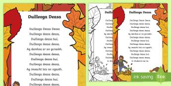 Duilleoga Deasa (Nice Leaves) Poem - ROI, Harvest, Irish, fomhair,