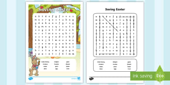 Saving Easter Story Word Search - wordsearch, key words, vocabulary, easter bunny, easter eggs, easter, celebrations, characters