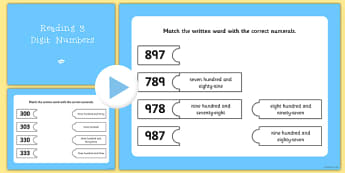 Reading 3 Digit Numbers Smartboard Matching Activity - maths, numerals, 3-digit, hundreds, tens, ones, units, interactive whiteboard