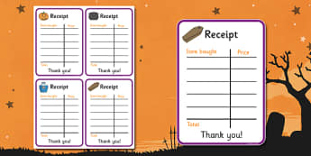 Halloween Fancy Dress Shop Role Play Receipt - halloween, fancy dress shop, role play, receipt, role play receipt, fancy dress shop role play, roleplay