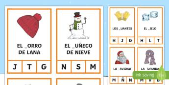 Winter Peg Activity Game Spanish   - seasons, spelling, sounds, letters, listening, reading