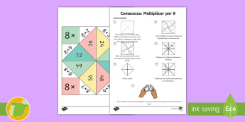Comecocos: Multiplicar por 8 - juego, mates, matemáticas, por ocho, x8,