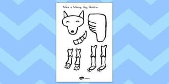 Make a Moving Dog Skeleton to Support Teaching on Funnybones - science, design, craft, paper, split pins, cut, out, scissors, model, display