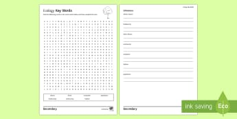 Ecology Key Words Word Search - population, biotic factors, abiotic factors, community, habitat