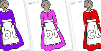 Initial Letter Blends on Old Mother Hubbard - Initial Letters, initial letter, letter blend, letter blends, consonant, consonants, digraph, trigraph, literacy, alphabet, letters, foundation stage literacy