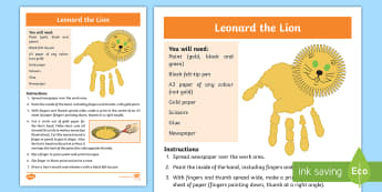 Leonard the Lion Activity - Sensory, Art, Craft, Hand, Body Part, Paint, Print, Lion, Special Education, Colour,Australia