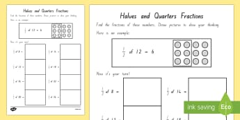 Halves And Quarters Fractions Activity Sheet - New Zealand, maths, fractions, halves, quarters, sets, Years 1-3, half