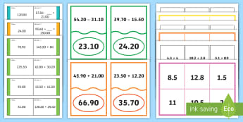 Decimal Number Addition and Subtraction Bingo, Loop and Matching Card Resource Pack - ACMNA128, Year 6 Maths, Take Away Decimals, Decimal Subtraction, Take Decimal Numbers, Decimal Numbe - ACMNA128, Year 6 Maths, Take Away Decimals, Decimal Subtracti