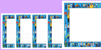 People Who Help Us Full Page Borders (Landscape) - page border, border, frame, writing frame, writing template, people who help us, landscape, people who help us borders, people who help us writing frames, writing aid, writing, A4 page, page edge, wr