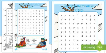 Whatever the Weather Snowy Word Search - exploring my world, sun, rain, wind, snow, seasons, clothes, aistear, literacy, oral langage, readin