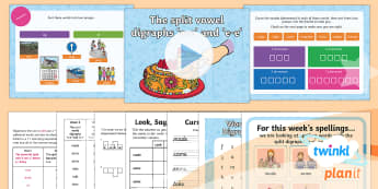 PlanIt English Y1 Term 2B W2: Split Digraphs 'a-e' and 'e-e' Spelling Pack - Spellings Year 1, Term 2B, Week 4, a-e, e-e, split digraphs, magic e, magic a