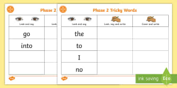 Middle East Phase 2 Tricky Words Writing Practice Activity Sheets - worksheets, spell, Literacy, Phonics, middle east, letters and sounds, UAE, Dubai, worksheet, Abu Dh