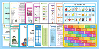 KS1 Writer's Toolkit Display Pack - writing expectations, Year 1, Year 2, word mats, support, writing tools