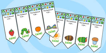Editable Bookmarks to Support Teaching on The Very Hungry Caterpillar - bookmarks