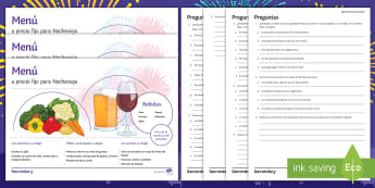 New Year's Eve Menu Differentiated Reading Comprehension Activity Spanish - food, drinks, eating, christmas, Celebrations, Read, worksheet, KS3