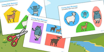 The Billy Goats Gruff Themed Cutting Skills Worksheet - cutting