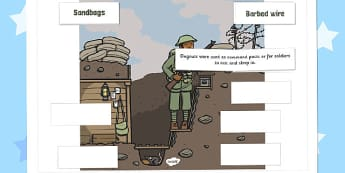 World War One - World War One Trench Labelling Activity Sheet, worksheet