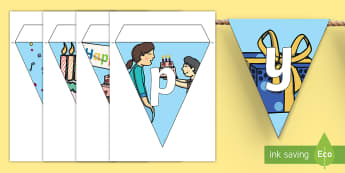Happy Birthday Display Bunting - happy birthday, display, bunting, bulletin board, celebration,