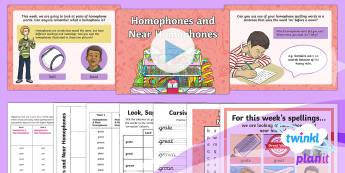 PlanIt Spelling Year 3 Term 2B W1: Homophones & Near Homophones Spelling Pack - Spellings Year 3, Y3, SPaG, GPS, spell, spelling, homophones, near homophones, weeks, test, lists, w
