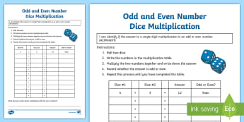 Odd and Even Number Dice Multiplication Activity Sheet - Australian Curriculum Number and Algebra, year 4, odd, worksheet, even, odd and even, properties of