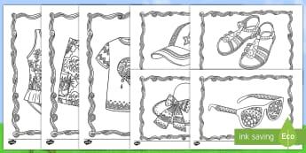 Adult Colouring Mindfulness Summer Clothes Activity Sheets English/Mandarin Chinese - worksheets Adult Mindfulness Summer Clothes Colouring Sheets - Mindfulness Colouring, summer, season