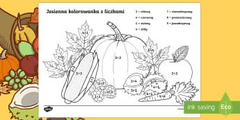 Jesienna kolorowanka z liczbami Dodawanie do 10 - jesień, pory, roku, suma, oblicz, matematyka, liczby, kasztany,Polish