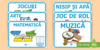 Arii și centre de interes Planșee - Romanian / Română-Romanian - Ariile clasei  Planșe,amenajare grupă, decorul grupei, început de an, la grădiniță, grupa noas
