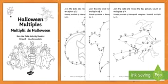 Halloween Multiples Activity Booklet English/Romanian - Maths, multiplication, algebra, activities ,EAL