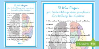 10 Was-Fragen für eine positive Einstellung Poster für die Klassenraumgestaltung - Psychologie, Lernhilfen, lernen, gutes Verhalten, positives Verhalten,,German