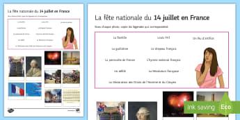 Feuille d'activités : Questionnaire-Photos sur le 14 juillet - cycle 2, cycle 3, Histoire, 14 juillet, fête nationale, Révolution, quiz, questionnaire, photos, légendes