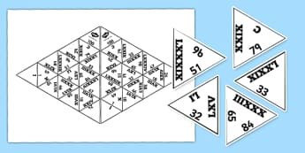 Triomino : Les nombres romains jusqu'à 100 - nombres romains, rroman numbers, Rrome, romains, nombres, histoire, antiquité, cycle 3, KS2, jeu