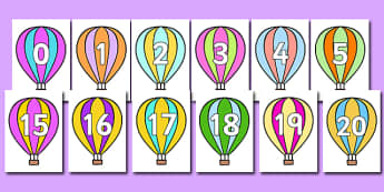 Numbers 0-20 on Hot Air Balloons (stripey) - Stripes, Foundation Numeracy, Number recognition, Number flashcards, Hot air balloons, Stripey balloons