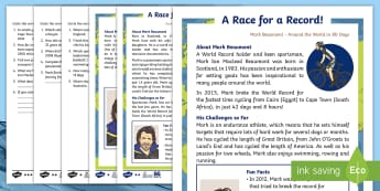 KS1 Mark Beaumont Differentiated Reading Comprehension Activity - Mark Beaumont, cycle, cycling, bike, bicycle, challenge, adventure, goal, target, setting, World Rec