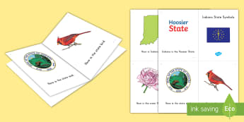 Indiana Symbols Emergent Reader - United States History, State history, Indiana, State Symbols, State Flag, State Seal, State Bird, St