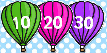 Counting in 10s on Hot Air Balloons (Plain) - Counting, Hot Air Balloon, Numberline, Number line, Counting on, Counting back, even numbers, foundation stage numeracy, counting in 2s