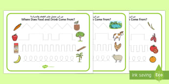 Where Does Food and Water Come From? Pencil Control Activity Sheets Arabic/English - Where Does Food and Water Come From Pencil Control Worksheets  , pencilcontrol, activity sheet, EAL