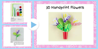 3D Handprint Flowers Craft Instructions PowerPoint - craft, powerpoint, hand