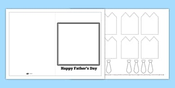 3D Shirt And Tie Fathers Day Card - card template, writing aid