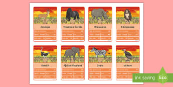 KS1 African Animals-Themed Top Cards Game - Top Trumps, Activity, Safari, Play, Data, Endangered Species, Endangered animals