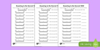 Rounding to 1000 Differentiated Worksheet / Activity Sheet Pack-Scottish, worksheet