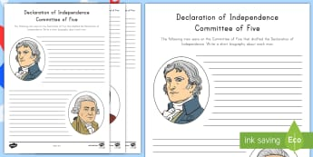 Declaration of Independence Famous Faces Research Activity Sheet - Independence Day, 4th July, July 4th, American Independence, Benjamin Franklin, Thomas Jefferson, Jo