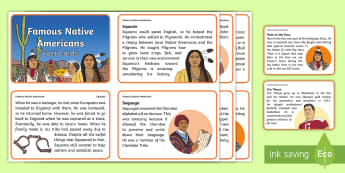 Famous Native Americans Fact Cards -  Native Americans, Sitting Bull, Jim Thorpe, Rain in the Face,  Indigenous Peoples Day, Squanto, Seq