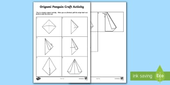 Origami Penguin Craft Activity Sheet - Supply Teacher Survival Package, origami, art, simple, worksheet, last minute art activities, craft,