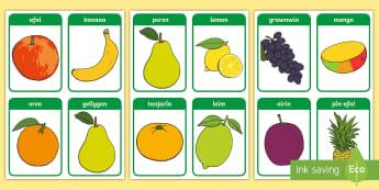 Cardiau Fflach Geiriau Ffrwythau - afal, banana, gellygen, eirinen, mango, ciwi, pin-afal, grawnwin, grapes, pinapple, banan, apple, af