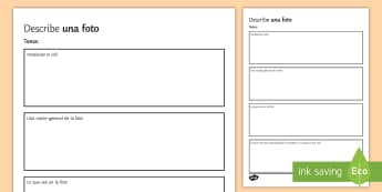 Describing a Photo Writing Template - Spanish, photo, template, writing, describing