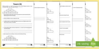 Towers Maths Investigation Activity Sheet - Pascale's Triangle, addition, highest, smallest, challenge, worksheet, HA