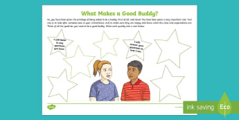 What Makes a Good Buddy? Activity Sheet - friendship, responsibility, rules, roles, transition, emotions, behaviour, buddy, worksheet