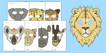Safari Animal Masks - Safari, animals, animal, Role Play, mask, africa, lion, tiger, plain, hippo, cheetah, rhino, elephant, leopard, giraffe