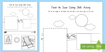 Finish the Scene Cutting Skills Activity Sheets - nz, new zealand, seaside, worksheet